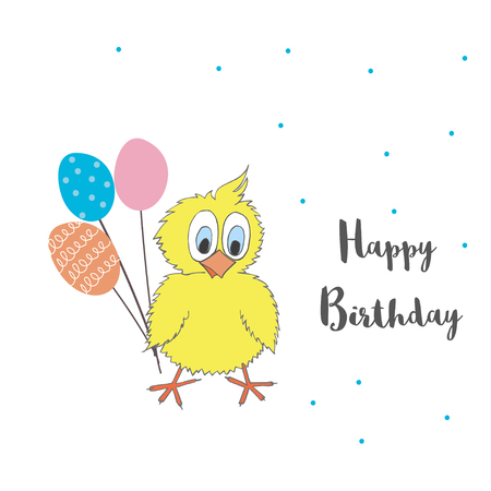 chick: Cute little chicken with balloons and words Happy Birthday. Vector cartoon illustration can be used for baby t-shirt, print design, baby shower, greeting and invitation card. Illustration