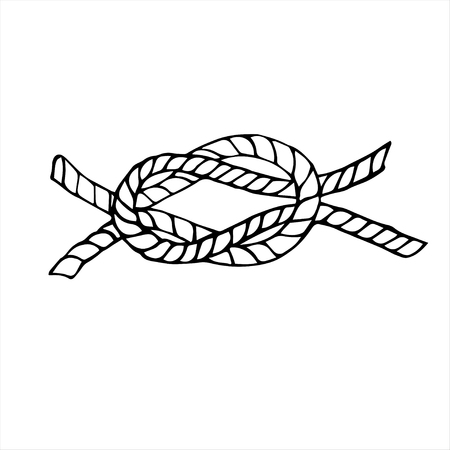 Hand drawn black and white decorative element knot.