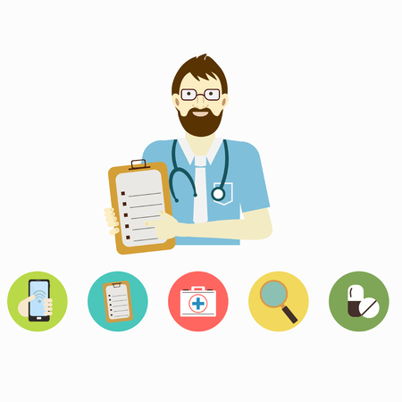 Male doctor. Infographic step for patients call the doctor  in hospital. Vector illustration. Vettoriali