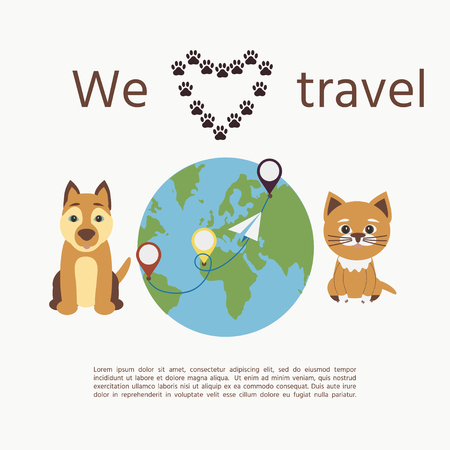 """Cute dog and cat whith text """"We love travel"""". Concept illustration of pet carrying and travelling with pets."""