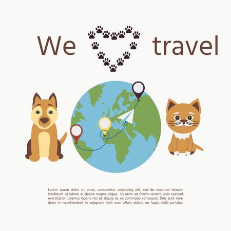 """Lindo perro y gato con el texto """"Nos encanta viajar"""". Ilustración del concepto de transporte de mascotas y viajes con mascotas. Ilustración de vector"""