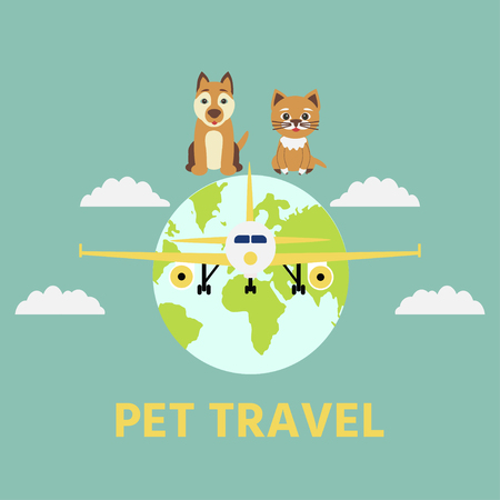 Cute dog and cat. Concept illustration of pet carrying and travelling with pets. Vector Illustration.