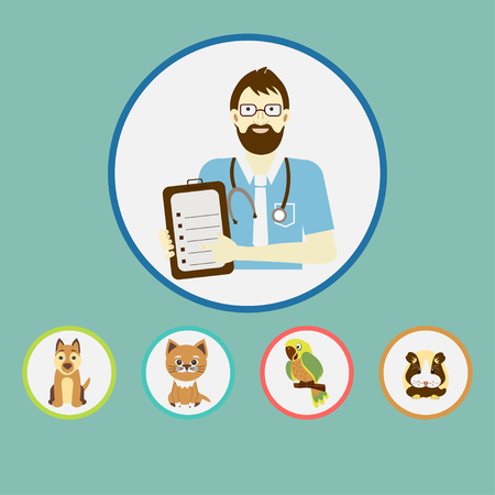 Veterinarian  with dog, cat, parrot and hamster.  Flat design vector illustration.