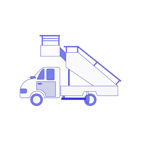 Airport truck and fright forklift symbol, ladder truck. Aviation terminal logistics and infrastructure management, commercial airline advertising with ground technics vector illustration.