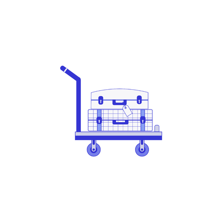 The two suitcase  on a mobile trolley. Flat design, vector illustration. 일러스트