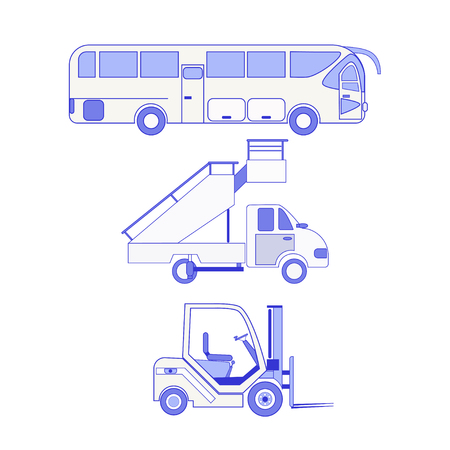 Set  airport ground technics (modern bus,  forklift, passenger ladder) isolated on white background. Aviation terminal logistics and infrastructure elements. Illustration