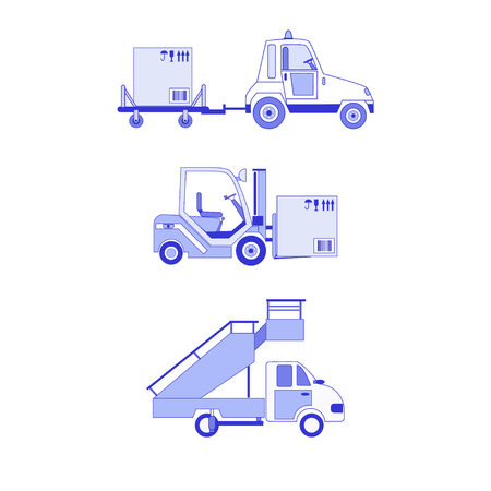 Set  icon airport ground technics (forklift with box, passenger ladder) isolated on white background. Aviation terminal logistics and infrastructure elements. Cargo delivery, shipping, transportation. Illustration