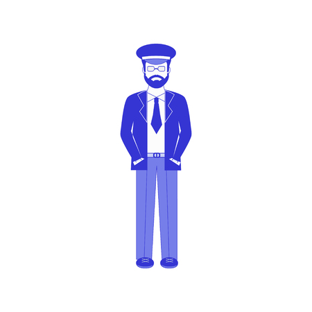 Vector c illustration of commercial airlines pilot  in blue cap and glasses (aviation uniform). Pilot in navy blue suit isolated on white background. Banque d'images - 108814806