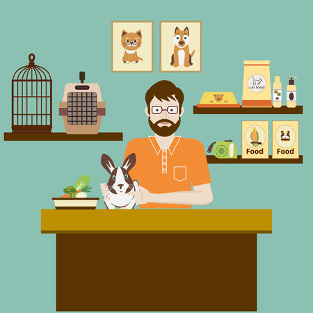 Pet shop seller at a counter in a store opposite shelves with Rabbit in hutch. Flat vector illustration.  Accessories for animals care, food, cage, etc.  Pet shop concept.