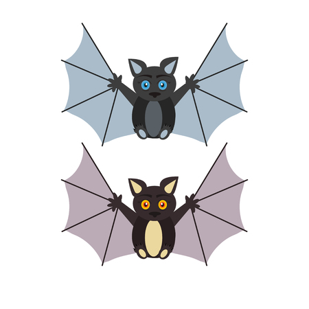 Cute bat cartoon icon. Element, object for holiday card, holliday invitation and party design.