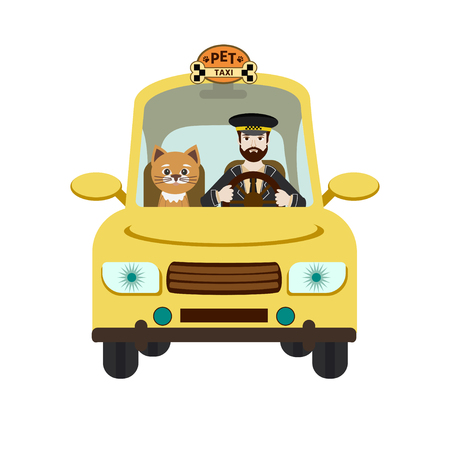 Taxi driver and pet on front seat. Vector illustration in flat style  on white background. Pet travel concept.
