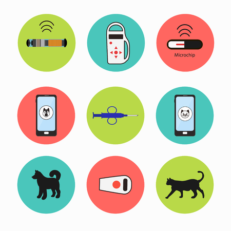 Pet services - microchipping. Icon dogs and cats with microchip pill inside the body and information about owner tagged with a microchip implant.