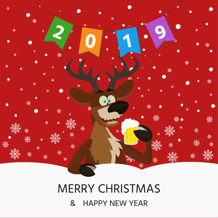 Merry Christmas card with cute funny reindeer with  beer glass on red  background with snowflakes.
