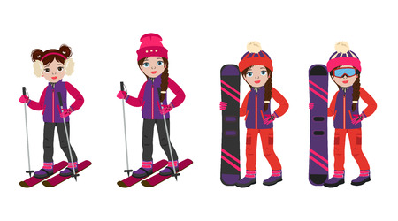 Cute cartoon girls in winter sport clothes clothes with snowboarding and ski in hand, set. Vector icon girls isolated white background.