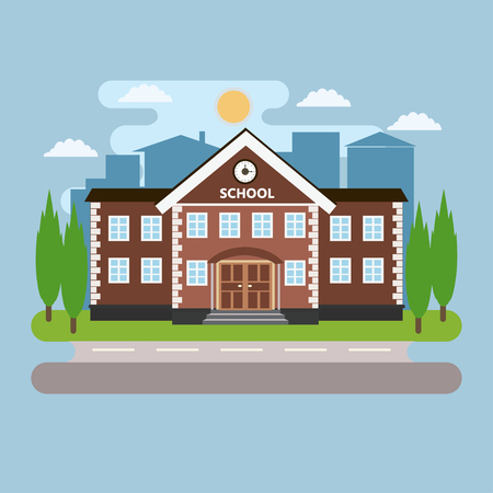 Vector illustration of school building with landscape. Back to school. Flat style vector illustration.