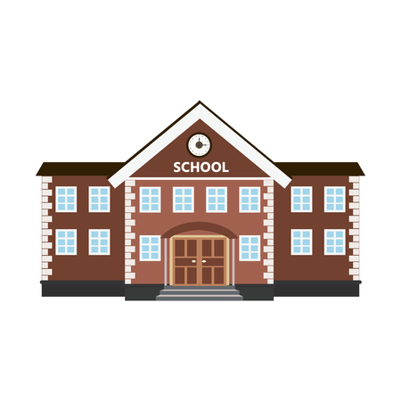 Vector illustration of a school building. Flat style.