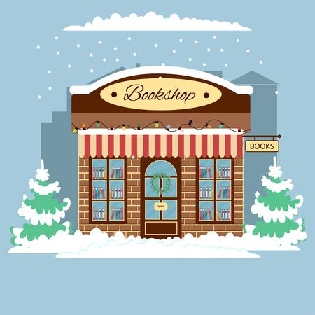 Vue de face de la librairie. Éléments de design de la ville hiver. Bannière. Librairie avec panneau de bienvenue, guirlande, couronne de Noël.