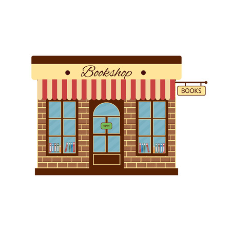 Cartoon bookstore. Front view. Vector Illustration icon.