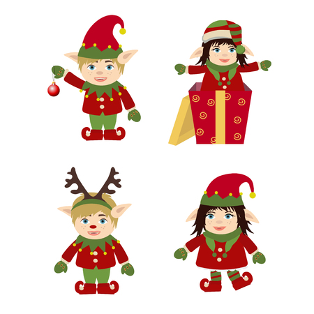 Set of cute and funny character Merry Christmas elf girl and elf boy. Design element for congratulation card, banner, leaflet, poster. Cartoon style.