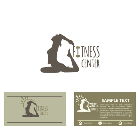 Fitness club logo or emblem with woman  silhouette , icon, business card design template  on white background. Vector  illustration for design. Illustration
