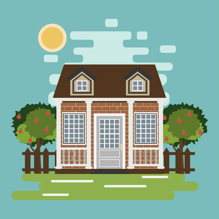 Private cute cottage with trees. Real estate. Renting. Vector illustration. Иллюстрация