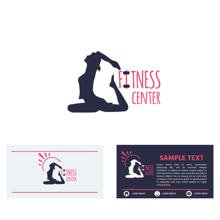 Fitness club logo or emblem with woman  silhouette , icon, business card design template  on white background. Vector  illustration for design. Stock Vector - 120087400