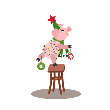Christmas icon with cute pig with Christmas garland on stool. Vector winter holiday illustration can use for decoration, greeting cards, invitations.