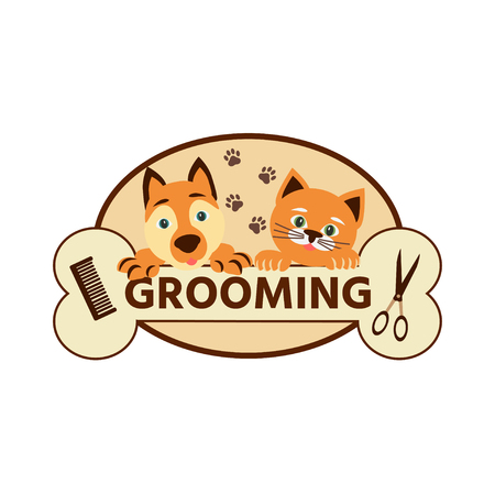 Vector illustration. Cartoon style. Cat and dog icon, grooming pets.