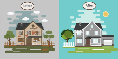 Casa antes y después de la reparación. Casa vieja en ruinas. Edificio de rehabilitación. Ilustración vectorial. Ilustración de vector