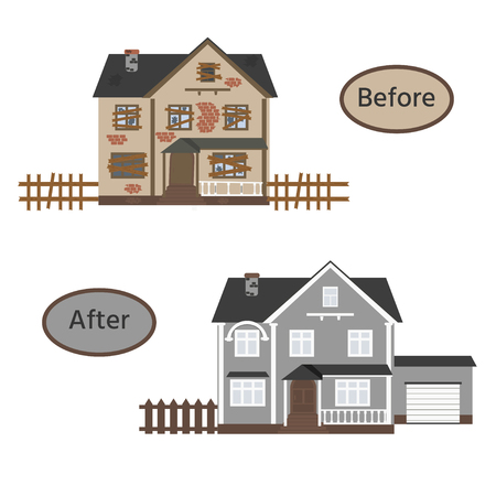 Suburban cottage before and after repair. Old run-down home. Renovation building. Vector illustration.