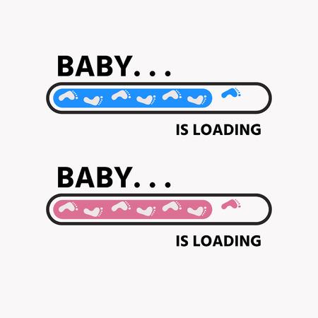 Bébé fille et garçon est en train de charger et empreintes d'enfant avec barre de téléchargement. Vecteur pour la conception de t-shirt, affiche, carte, décoration de bébé Vecteurs
