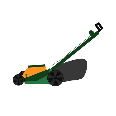 Vector illustration  with lawn mower. Garden works and equipment