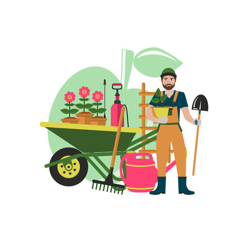 Vector banner gardener with cute gardener with shovel, watering can and wheelbarrow ready to work in the garden. Gardening, planting flowers and plants