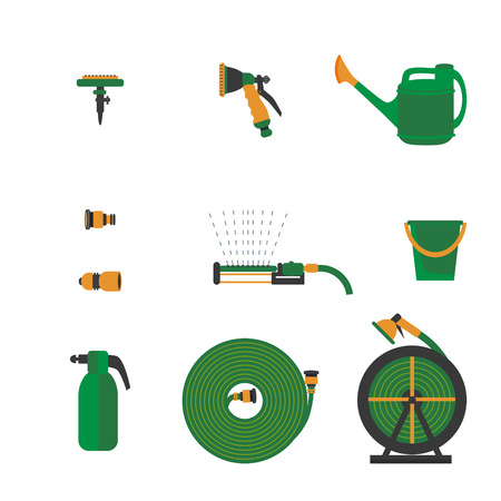 Garden tools and icons for watering: garden spray, hose,  water sprinkler, watering can. All for watering business vector illustration
