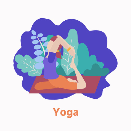 Vector illustration with woman in a yoga pose in the parck. Modern flat design concept