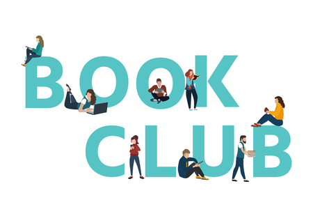 Vector logo concept of a book club with people reading. Flat  style Vettoriali