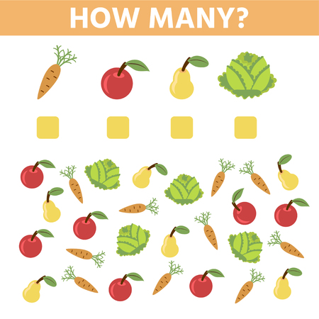 How many. Educational game. Maths task for the development of logical thinking of children. Count carrots, cabbages, apples, pear and write down the result.