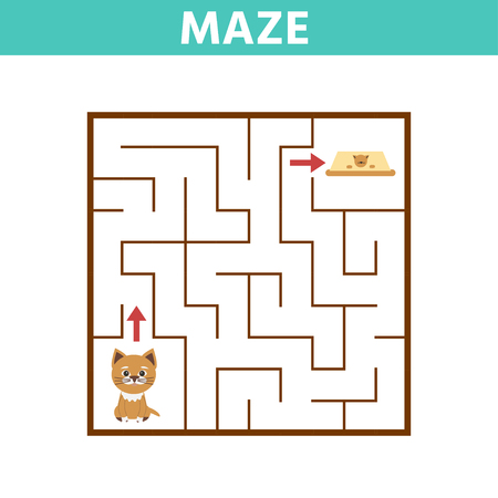 Funny game for children education. Maze. Help the Cartoon cat find the feed. Vector Illustration
