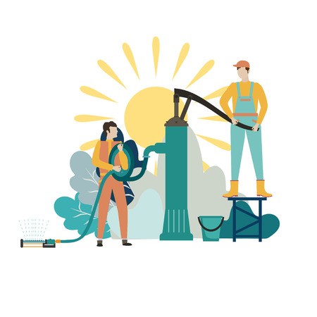 Two gardener in overalls stands and a hand water pump. Concept gardening and farming. Vector illustration 向量圖像