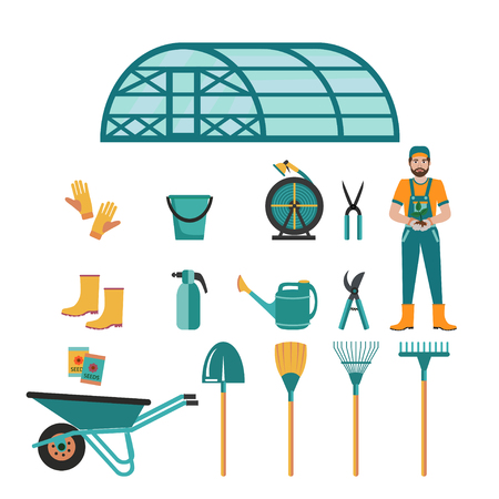 Set of various colorful gardening tools and gardener man . Flat design illustration of items for gardening and farming . Vector illustration.