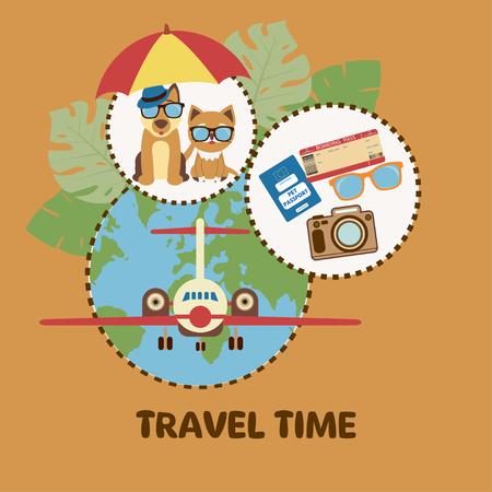 Lindo perro y gato. Ilustración del concepto de transporte de mascotas y viajes con mascotas. Ilustración de vector.