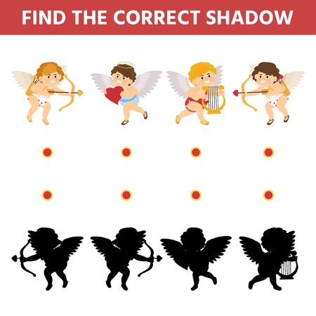 Children shadow matching game. Find the correct shadow cupid set. Funny riddle entertainment. Activity page for children. Kids educational game.  Vector illustration Banque d'images - 116733636