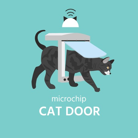 Pet Door Connect. Pet services. Microchip in cat sign icon. Vector  illustration