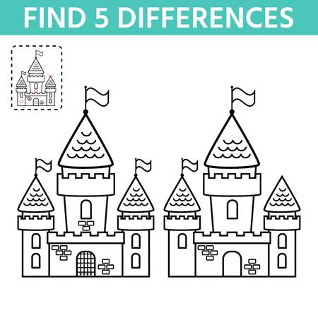 Page d'activité pour les enfants. Trouvez la différence entre les deux châteaux. Divertissement d'énigmes amusantes pour les enfants. Tâches de jeu pour l'attention