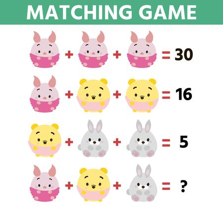 Mathe-Lernspiel für Kinder. Kinder lustige Rätselunterhaltung. Finden Sie die richtige Antwort. Spielaufgaben für Aufmerksamkeit Vektorgrafik