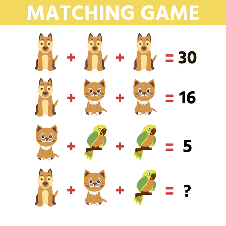 Math educational game for children.  Children funny riddle entertainment. Find right answer. Game tasks for attention