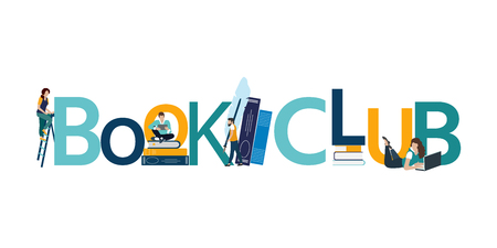 Vector logo concept of a book club with people reading. Çizim