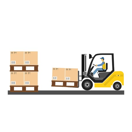 Forklift auto loader with box. Vector illustration isolated on white background. Passenger airport ground technics.  Delivery company concept. Archivio Fotografico - 121325372