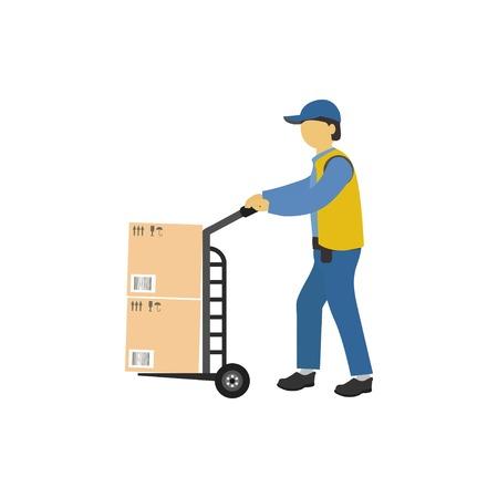 Illustrazione vettoriale. Il caricatore maschio porta una carriola con i pacchi. Concetto di consegna del corriere. Vettoriali