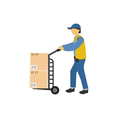 Vector illustration.  Male loader carries a wheelbarrow with parcels. Courier delivery concept.